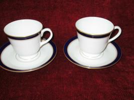 Royal Worcester Howard cobalt blue gold trim set of 2 CUPS AND SAUCERS - $19.75