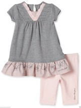 Calvin Klein Jeans Baby Girls Eyelet 2 Pc Set:Tunic & Leggings. Sz.12. NWT - $24.99