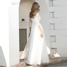 Illusion Lace Wedding Dresses A-Line 3/4 Sleeve Sequined Tulle Bridal Gown image 2