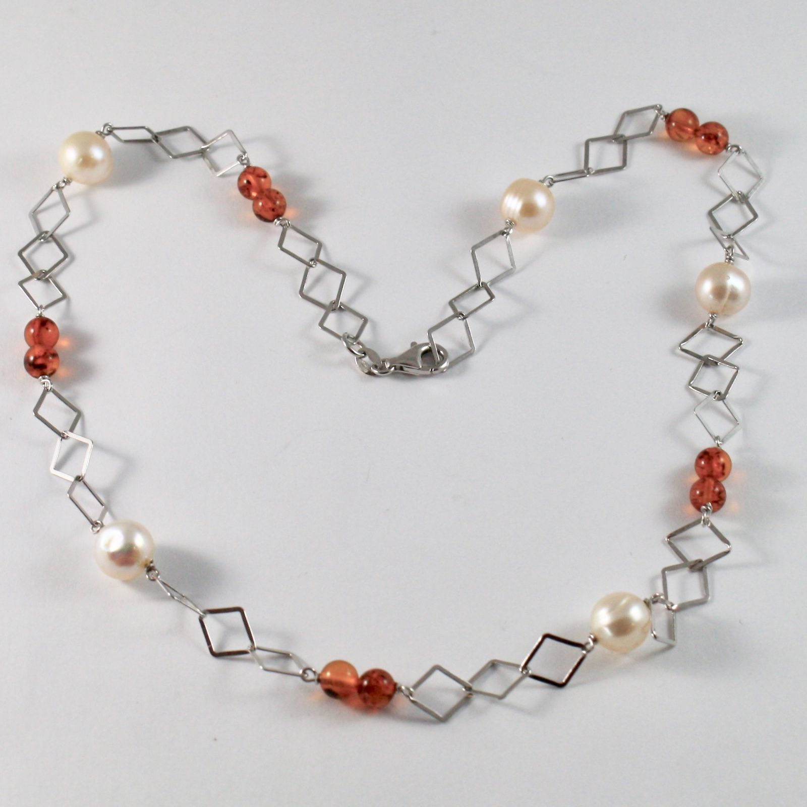 925 STERLING SILVER NECKLACE WITH AMBER BALTICA AND PEARLS OF WATER DOLCE COLOUR