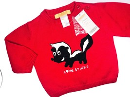 Gymboree Infant Sweater 6 12 Months Love Stinks Skunk Red Knit Valentines Day - $12.22