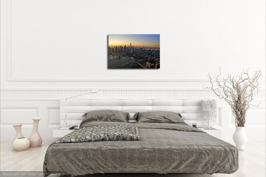 "New York City Aerial Photography Wall Decor - ""Sunset Skyline"""