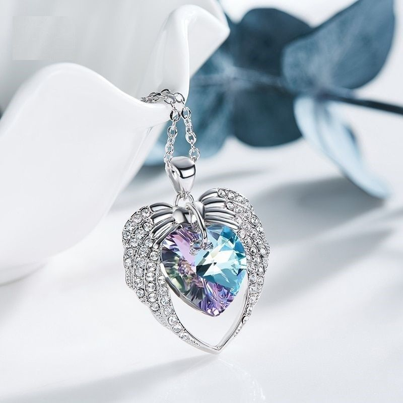Women Crystal From Swarovski Pendant Necklaces Purple Blue Heart Elegant Jewelry