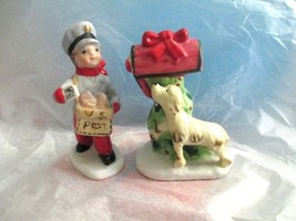 "Enesco Christmas Postman Mailbox Dog Ceramic Figurines 4""  Set of 2  Taiwan - $19.79"