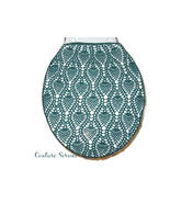 Hand Crocheted Cotton Toilet Tank & Lid Cover Set,  Forest Green - $225.00