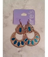 Claire's Gold And Blue Teal Filigree Crescent Moon Tear Drop Dangle Earr... - $6.92