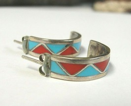 Festive 20.76mm Sterling Silver Red/Turquoise Enameled Semi-Hoops 3.6g - $454,54 MXN