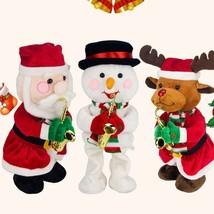 Santa Snowman Deer Singing Dancing With Saxophone Christmas Decor 3AA Ba... - $27.98