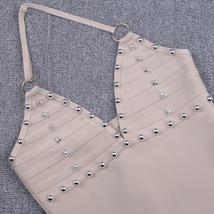 Celebrity Brand Fashion Nude Sleeveless Halter Dress Embellished with Rhinestone image 5