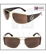 VERSACE Square Wrap VE2163 Tortoise Brown Gold Mirrored Sunglasses Unise... - $216.81