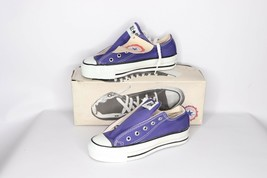 Vtg 90s New Converse Chuck Taylor Girls 1 Youth All Star Low Shoes Purpl... - $97.57