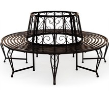 Metal Round Garden Tree Bench Vintage Circular Outdoor Seater Steel Blac... - $173.69