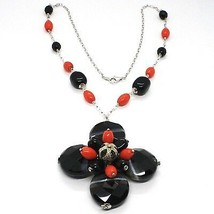 Necklace Silver 925, Agate Disco Faceted, Onyx, Coral, Flower Pendant image 1