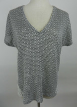 American Eagle Outfitters M Womens Top Gray White Woven SS V-Neck Crochet Lace - $29.69