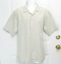 Sz L Alfani Mens Light Gray w/Touch of Green Cotton/Poly SS Button Shirt... - $12.50