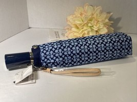 NWT COACH Mini Sig Signature Folding Umbrella w/cover Leather Strap F602... - $49.45