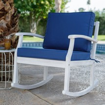 Whitewash White Coastal Outdoor Wood Rocking Chair With Nautical Blue Cu... - $296.50