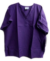 Purple Scrub Top 2XL Working Scrubs White Swan V Neck Chest Pocket Unisex New image 1