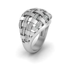 0.40cttw Natural Diamond Mesh Engagement Ring Solid 18k White Gold Wedding Band - $2,949.99