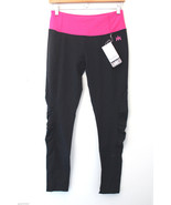 NWT KYODAN Gorgeous Ruched Black Pink Spandex Yoga Running Fitness Pants... - $28.99