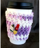 To Go Cup Cozy Sleeve in purple and white w paint brush and tube of pain... - $5.95