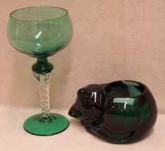Lot Of 2 Green Glassware Cat Candle Holder & Stemware - $17.81