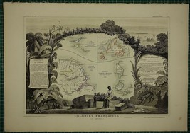 1856 MAP ~ FRENCH COLONIES AMERICA ISLANDS ST MARTIN GUIANA NEWFOUNDLAND - $125.46