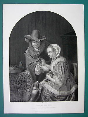 Primary image for WOMAN Teasing Pet Dog by Francis Mieris - SUPERB 1850s Antique Print