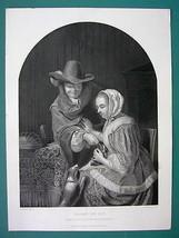 WOMAN Teasing Pet Dog by Francis Mieris - SUPERB 1850s Antique Print - $9.00