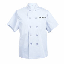 Embroidered Men's Chef Coat Short Sleeve Chef Shirt Personalized with yo... - $29.98