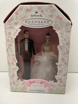 HALLMARK KEEPSAKE ORNAMENT 1997 WEDDING DAY BARBIE AND KEN  Set Of 2 NEW - $39.55