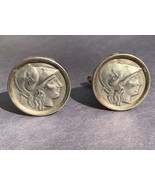 Vintage Warrior Cufflinks Marked Alpacca Silver Tone Spartan Greek Roman... - $19.75