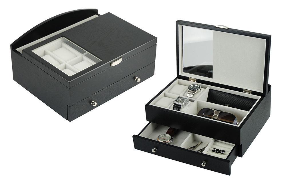 eb6c0a344 57. 57. Previous. Decorebay Executive Mens Black Wood Valet Storage  Organizer Men's Jewelry Box