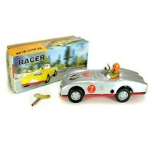 TIN TOY RACE CAR Collectible Classic Wind Up Silver Racer w Rider Vintage Style - $18.95