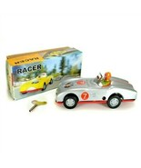 TIN TOY RACE CAR Collectible Classic Wind Up Silver Racer w Rider Vintag... - $18.95