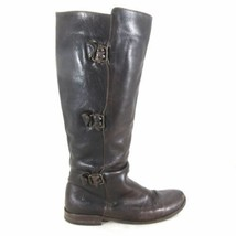 8.5 - FRYE Dark Brown Leather Buckle Detail PAIGE Tall Knee High Boots 0... - $70.00