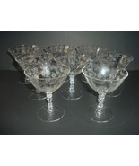7 Fostoria Chintz Low Sherbets or Goblets - $48.75