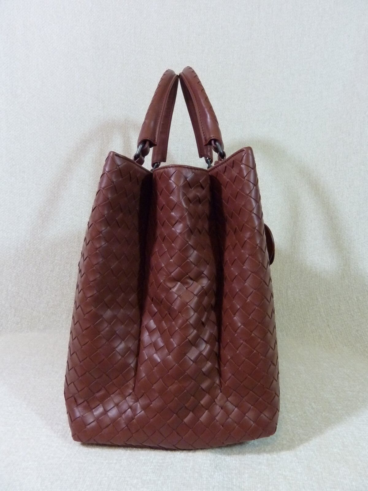 AUTH NWT Bottega Veneta Medium Roma Bag In Russet Intrecciato Calf Leather image 6