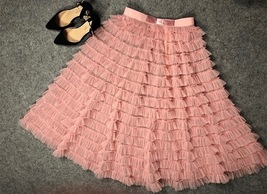 Blush Tiered Long Tulle Skirt Blush Bridesmaid Outfits Women's Tulle Puffy Skirt - $59.99+