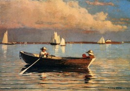 Glouchester Harbor by Winslow Homer Row Boat Seascape Sail Boats 30x21 Canvas - $226.71