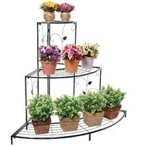 Corner Planter Stand Metal Etagere Pots Shelves Shelf Patio Outdoor Tier... - $129.22 CAD