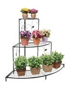 Corner Planter Stand Metal Etagere Pots Shelves Shelf Patio Outdoor Tier... - $99.99