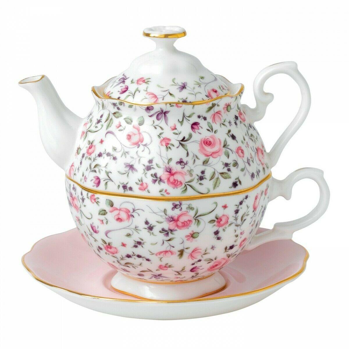 Royal Albert Rose Confetti Tea For One New #40002399 - $130.43