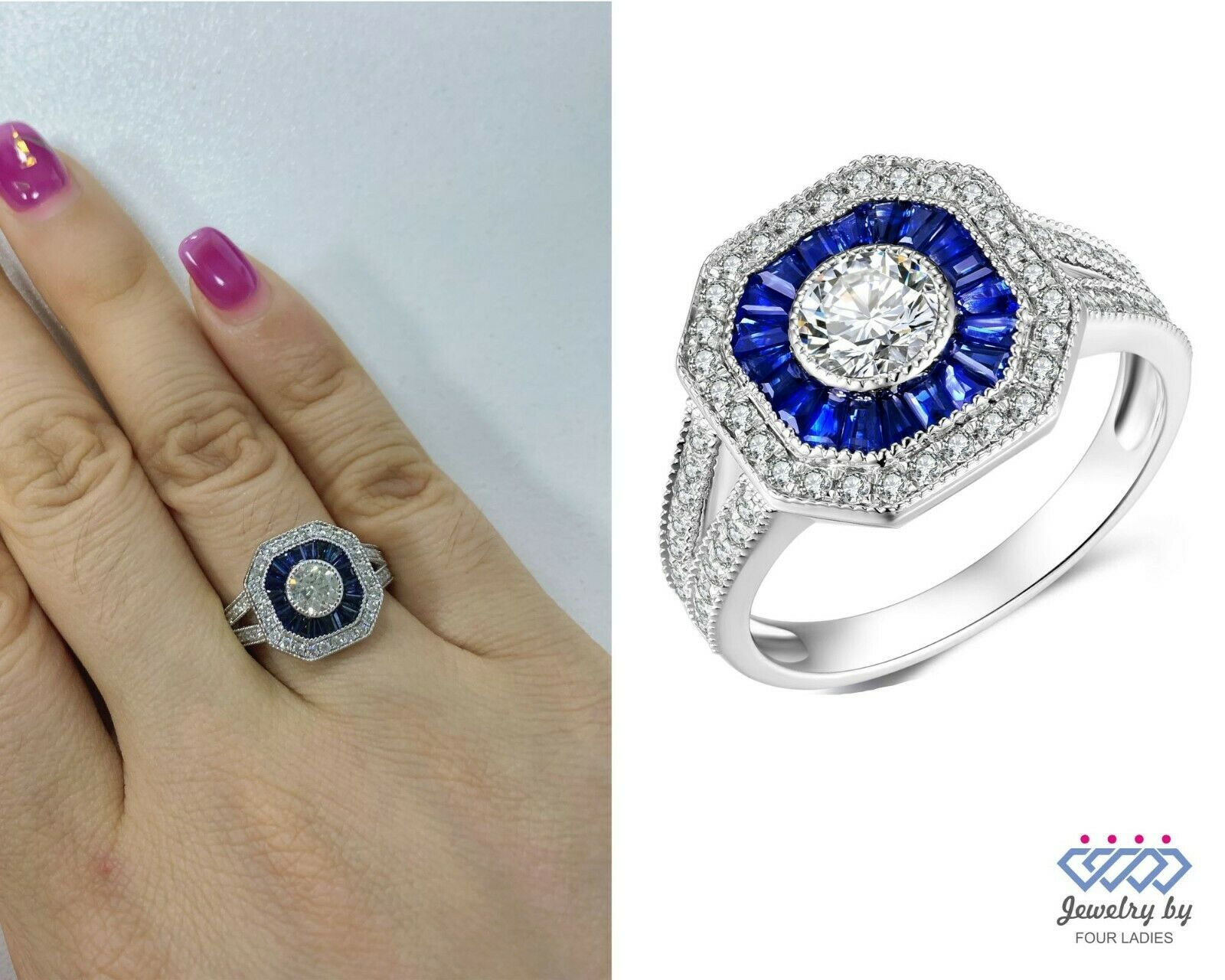 Primary image for 0.69 Carat Blue Sapphire Gemstone Diamond Bridal Ring Jewelry 14K White Gold