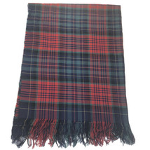 Morgan & Oates Red Green Plaid Pure New Wool Throw Blanket - $89.09