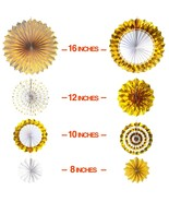 Gold Paper Fans Decorations Bridal Shower Birthday Fiesta Venue party Su... - $8.59+