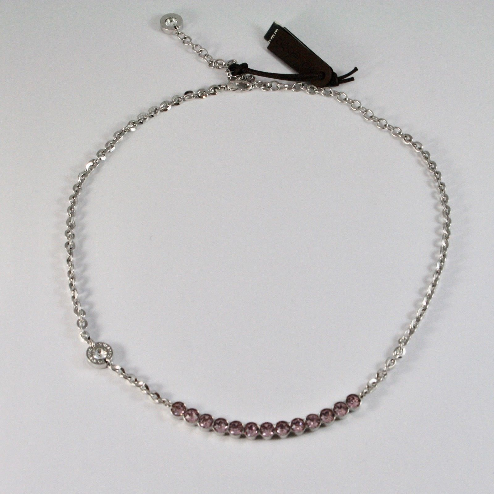NECKLACE REBECCA BRONZE WITH CRYSTALS PINK BRILLIANT CUT BPBKBA14