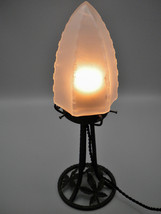 Very elegant French wrought iron Art Deco lamp with menhir shaped press ... - $370.00