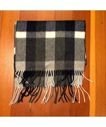 NWT New J.Crew Cashmere Blue Gray Plaid Fringed Scarf - $41.95