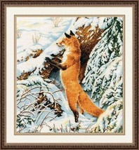 Cross Stitch Kit Hand Embroidery Animals Fox Winter - $37.00